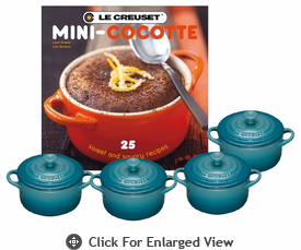 Le Creuset Set of 4 Mini Cocottes w/ Bonus Cookbook Caribbean