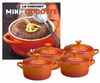 Le Creuset Set of 4 Mini Cocottes w/ Bonus Cookbook Flame