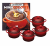 Le Creuset Set of 4 Mini Cocottes w/ Bonus Cookbook Red