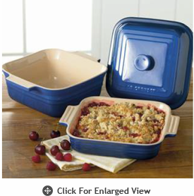 "Le Creuset Stoneware 3 qt. Square Covered Casserole and 9"" Square Baker"