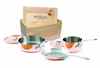 Mauviel 5 Piece M'heritage Copper Cookware Set Cast Stainless Steel Handles with Wood Crate