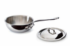 Mauviel M'Cook Curved Splayed Saute Pan w/ Lid 16 cm / 0.8 Qt. Cast Stainless Steel Handle
