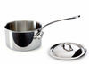 Mauviel M'cook Stainless Sauce Pan w/ Lid 14 cm / 1.2 Qt. Cast Stainless Steel Handle