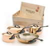 Mauviel M'heritage 7 Piece Cookware Set Cast Iron Handles with Wood Crate
