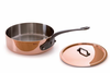 Mauviel M'heritage Copper Saute; Pan w/ Lid 4.9 Qt. (28 cm) Cast Iron Handle