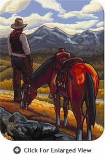 "McGowan Mfg TUFTOP Tempered Glass Cutting Board Cowboy on Range Small 9"" X 12"""