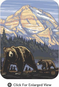 "McGowan Mfg TUFTOP Tempered Glass Cutting Board Rockies Grizzly Bears Medium 12"" X 16"""