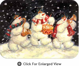 "McGowan Mfg TUFTOP Tempered Glass Cutting Board Snowmen Trio Small 9"" X 12"""