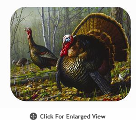 "McGowan Mfg TUFTOP Tempered Glass Cutting Board Turkeys Medium 12"" X 16"""