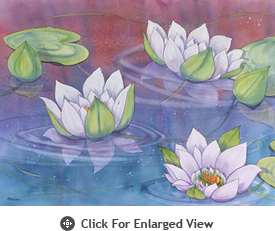 "McGowan Mfg TUFTOP Tempered Glass Cutting Board Water Lilies Medium 12"" X 16"""