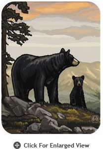 McGowan Mfg TUFTOP Tempered Glass Cutting Boards Black Bear & Family