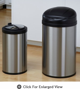 Nine Stars USA Touchless Infrared 10.5 Gal. and 3.2 Gal. Combo Trash Receptacle Model CB-DZT-40-8/12-18