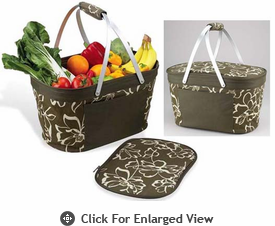 Picnic at Ascot Bold Collection Collapsible Insulated Basket - Olive Print
