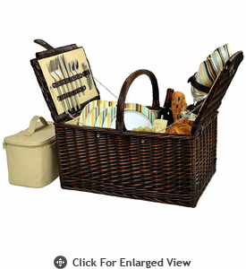 Picnic at Ascot Buckingham Picnic Basket for 4 Santa Cruz Stripe