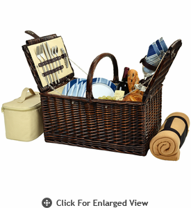 Picnic at Ascot Buckingham Picnic Basket for 4  w/  Blanket Aegean Stripe