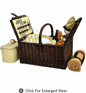 Picnic at Ascot Buckingham Picnic Basket for 4  w/ Blanket Hamptons Plaid