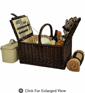 Picnic at Ascot Buckingham Picnic Basket for 4  w/ Blanket London Plaid