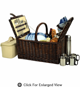 Picnic at Ascot Buckingham Picnic Basket for 4  w/ Coffee Service Aegean Stripe