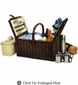 Picnic at Ascot Buckingham Picnic Basket for 4  w/ Coffee Service & Blanket Aegean Stripe