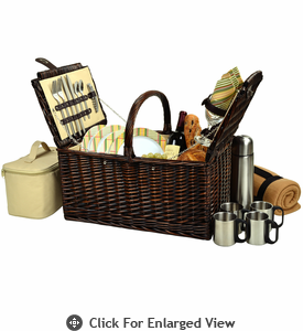 Picnic at Ascot Buckingham Picnic Basket for 4  w/ Coffee Service & Blanket Hamptons Plaid
