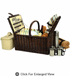 Picnic at Ascot Buckingham Picnic Basket for 4  w/ Coffee Service & Blanket Santa Cruz Stripe