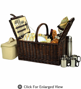 Picnic at Ascot Buckingham Picnic Basket for 4  w/ Coffee Service Hamptons Plaid