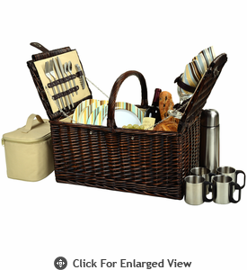 Picnic at Ascot Buckingham Picnic Basket for 4  w/ Coffee Service Santa Cruz Stripe