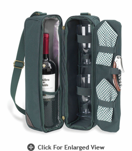 Picnic at Ascot  Classic - Sunset Deluxe Wine Carrier for 2-Green
