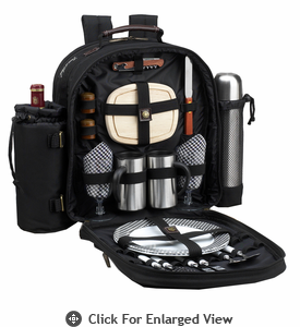 Picnic at Ascot Deluxe Equipped 2 Person Coffee Picnic Backpack Black