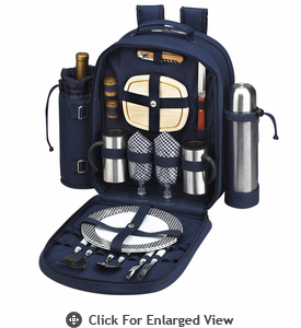 Picnic at Ascot Deluxe Equipped 2 Person Coffee Picnic Backpack Navy Blue
