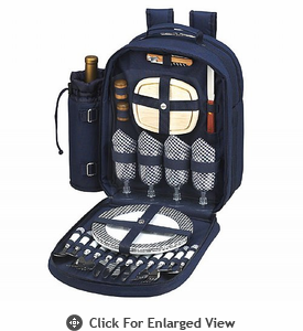 Picnic at Ascot Deluxe Equipped Picnic Backpack for 4 Navy Blue