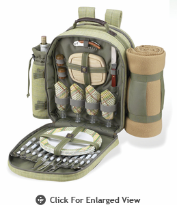Picnic at Ascot Deluxe Equipped Picnic Backpack for 4 w/ Blanket  Hamptons