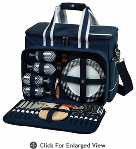 Picnic at Ascot  Deluxe Picnic Cooler for Four Navy Blue