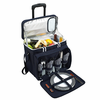 Picnic at Ascot Deluxe Picnic Cooler for Four On Wheels Navy Blue