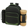 Picnic at Ascot Eco Deluxe Equipped Picnic Backpack for 4 w/ Blanket  Forest Green