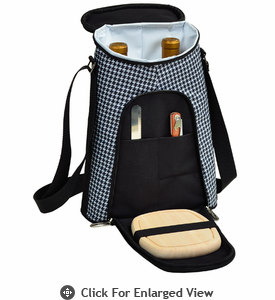 Picnic at Ascot  Houndstooth Pattern  Double Bottle Carrier with Cheese Set