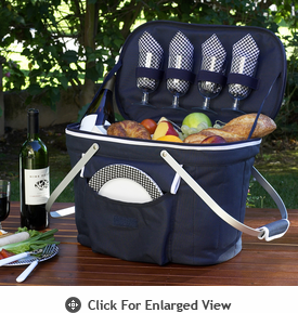 Picnic at Ascot Insulated Picnic Basket w/ Service for 4