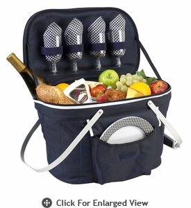 Picnic at Ascot Insulated Picnic Basket w/ Service for 4 Navy Blue