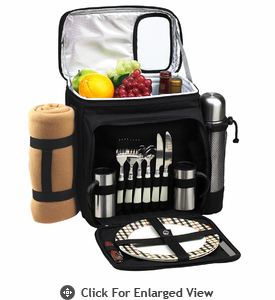 Picnic at Ascot Picnic Cooler for 2 w/ Coffee Set & Blanket London Plaid