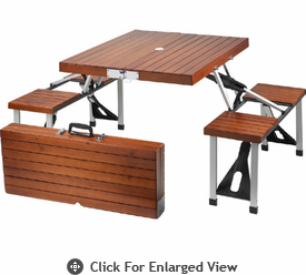 Picnic at Ascot Portable Wood Picnic Table Set  Brown