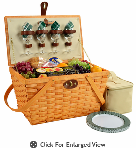 Picnic at Ascot Settler American Style Picnic Basket for 4 Green Plaid