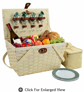 Picnic at Ascot Settler American Style Picnic Basket for 4 Green Plaid Whitewash