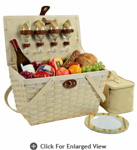Picnic at Ascot Settler American Style Picnic Basket for 4 Hamptons Whitewash