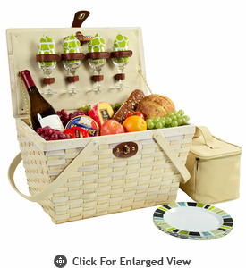 Picnic at Ascot Settler American Style Picnic Basket for 4 Navy / Trellis Green Whitewash