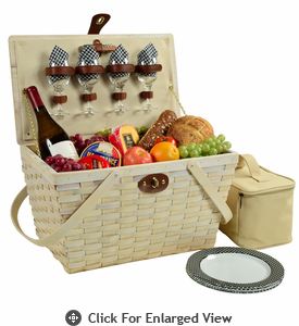 Picnic at Ascot Settler American Style Picnic Basket for 4 - Whitewash