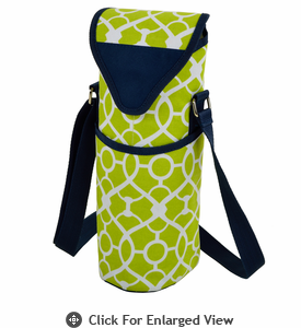 Picnic at Ascot Single Bottle Cooler Tote w/ Shoulder Strap Trellis Green