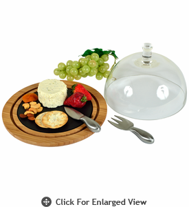Picnic at Ascot Slate Cheese Dome w/ Glass Lid Bamboo
