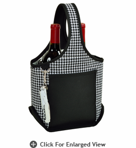 Picnic at Ascot Stylish 2 Bottle Wine Tote w/ Corkscrew Houndstooth