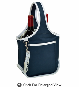 Picnic at Ascot Stylish 2 Bottle Wine Tote w/ Corkscrew Navy Blue