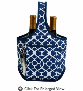 Picnic at Ascot Stylish 2 Bottle Wine Tote w/ Corkscrew Navy / Trellis Blue
